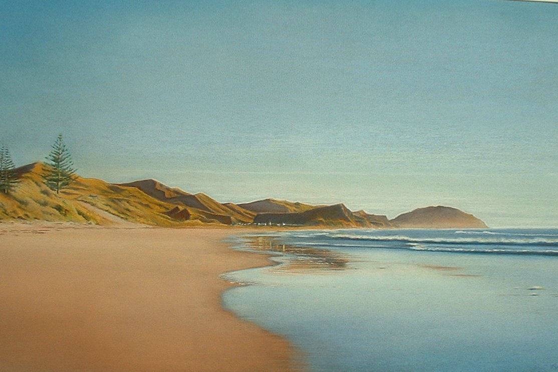 Wainui Beach,New Zealand -pastel