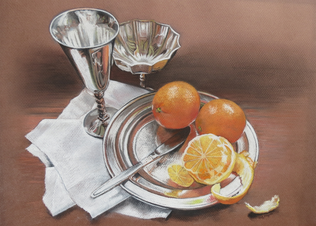 Oranges and Silver - Pastel