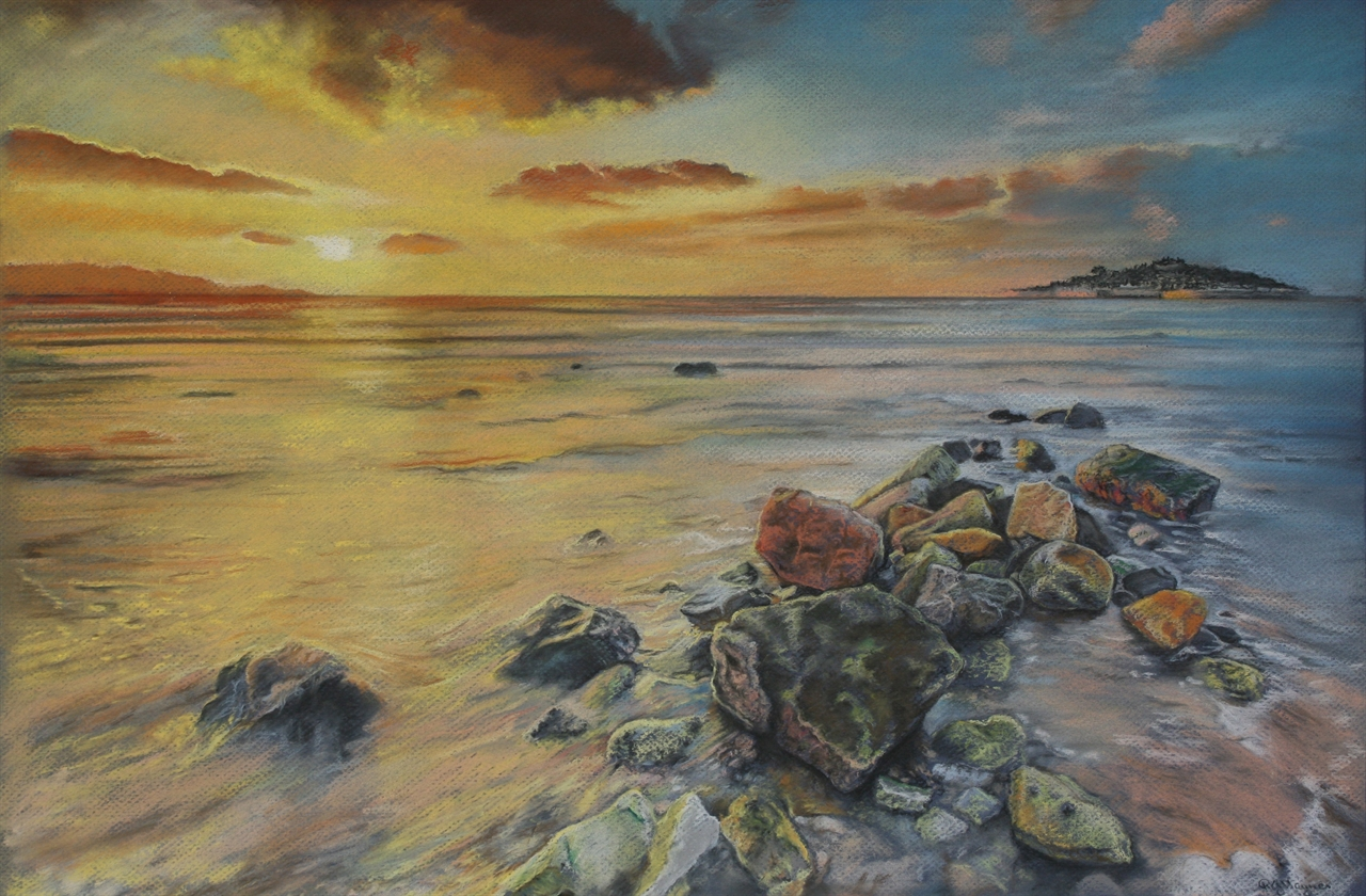 Sunset over the Isles- pastel