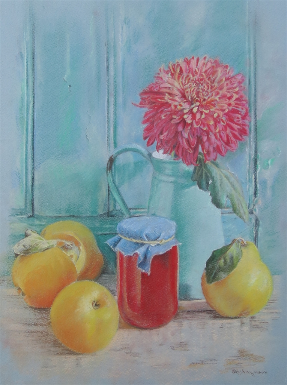 Quince and Chrysanthemum -pastel