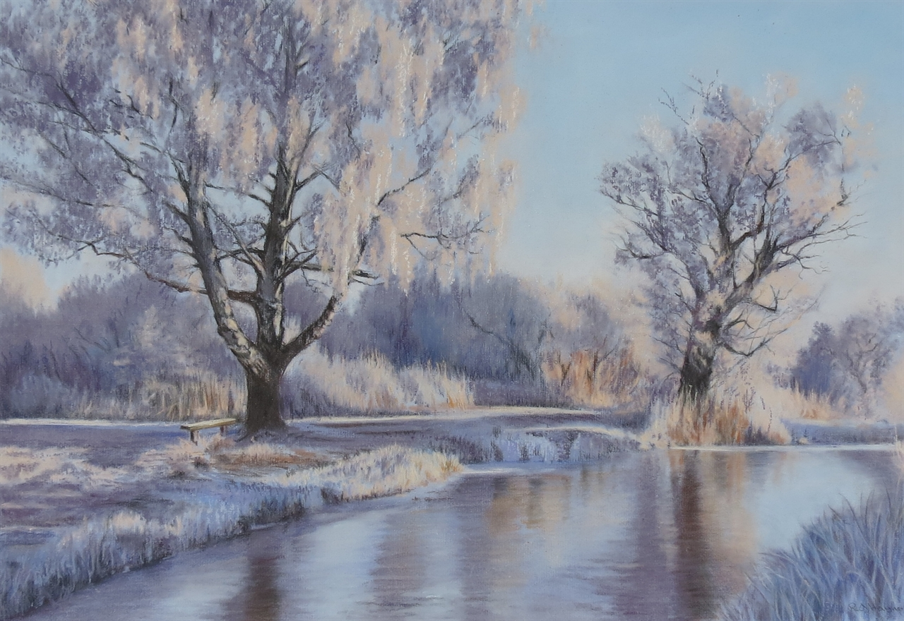Riverbank in the winter - pastel