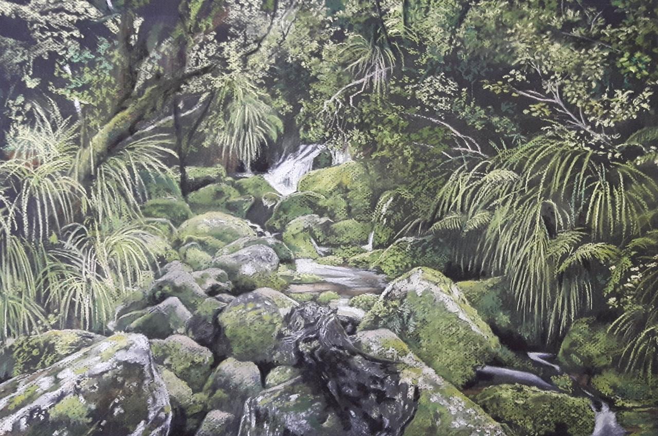 Huffam Falls, New Zealand- pastel
