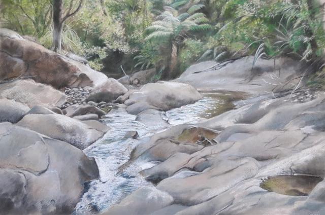 Taupo Stream, New Zealand- pastel